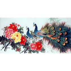 Chinese Peacock Painting - CNAG013323