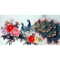 Chinese Peacock Painting - CNAG013354