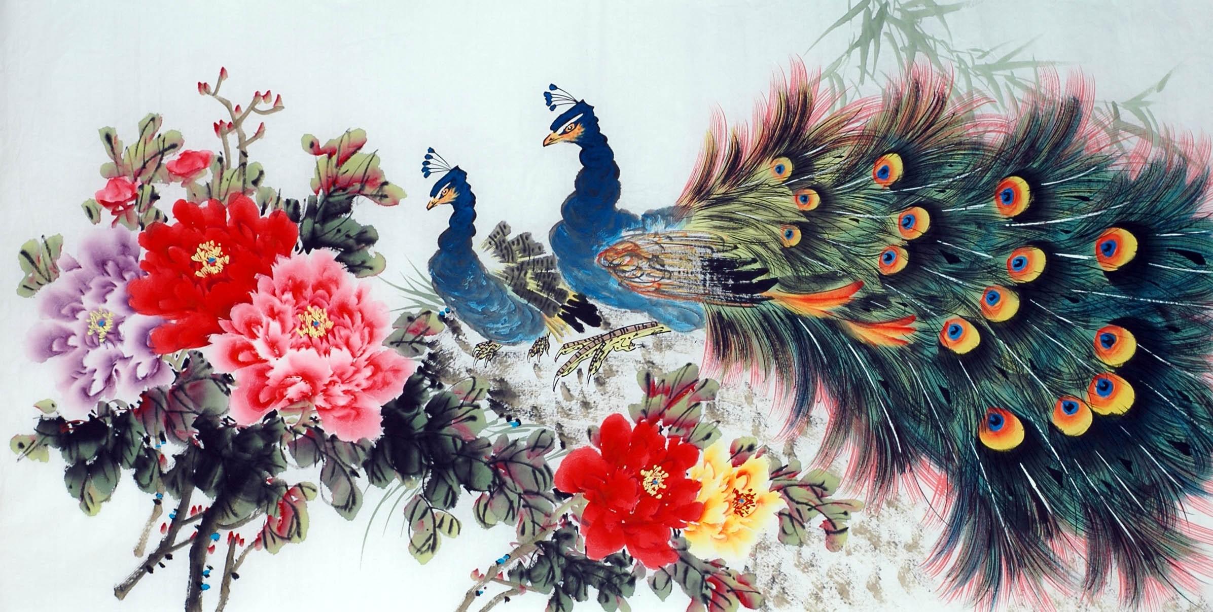 Chinese Peacock Painting - CNAG013354 - CNArtGallery.com