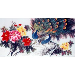 Chinese Peacock Painting - CNAG013384