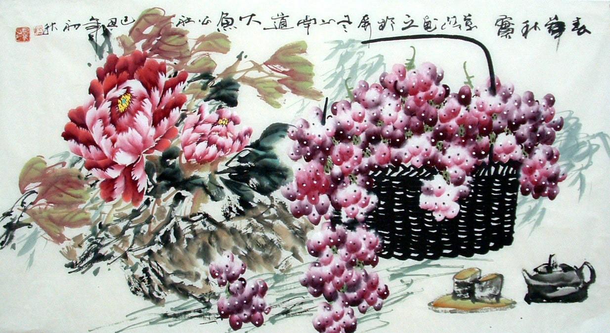 Chinese Grapes Painting - CNAG013629