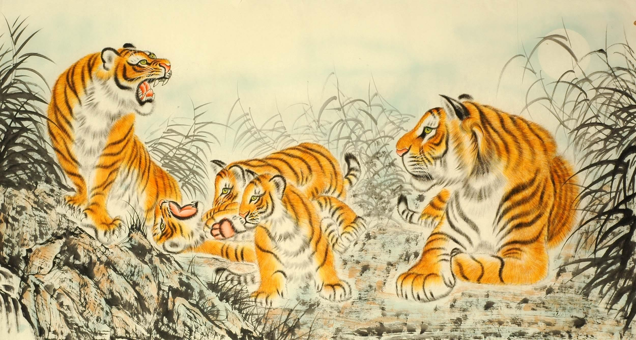 Chinese Tiger Painting - CNAG008381