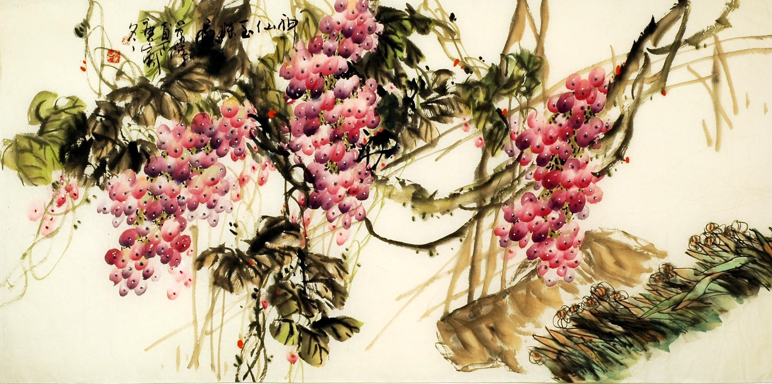 Chinese Grapes Painting - CNAG008869